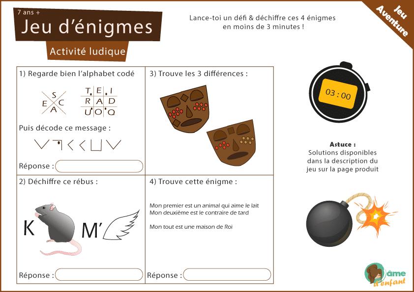 Jeu D Enigmes Challenge 4 Enigmes Chrono