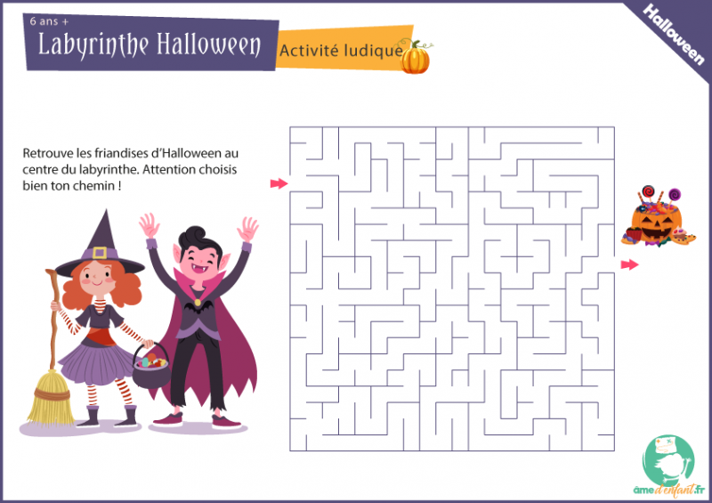 labyrinthe a imprimer theme halloween