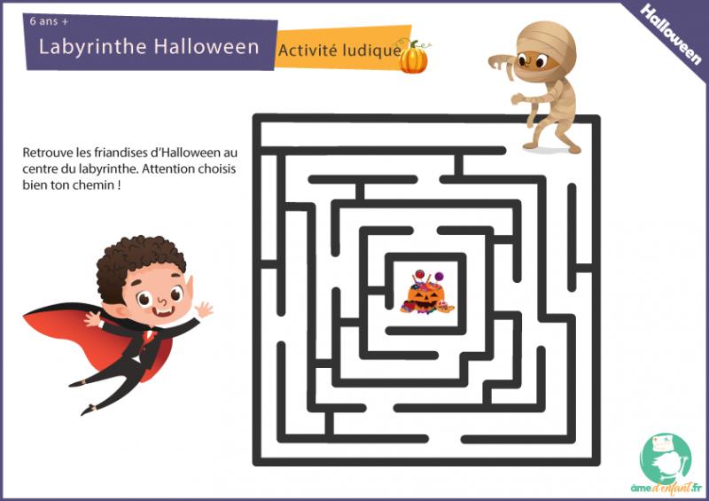 labyrinthe d' Halloween a imprimer