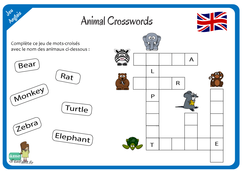 Coloriage De Paques En Anglais.J Apprends L Anglais Animal Crosswords
