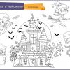 coloriage manoir hante halloween pour enfant
