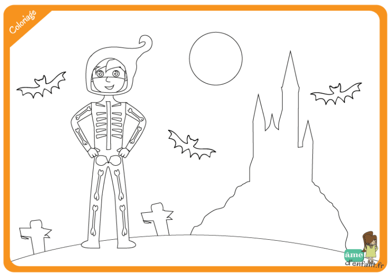 coloriage squelette halloween
