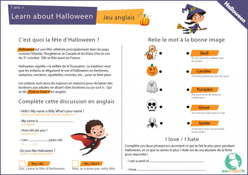 jeu anglais halloween