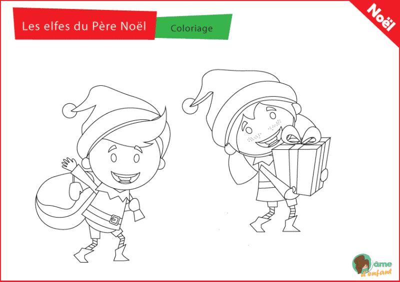 coloriage elfe du pere noel