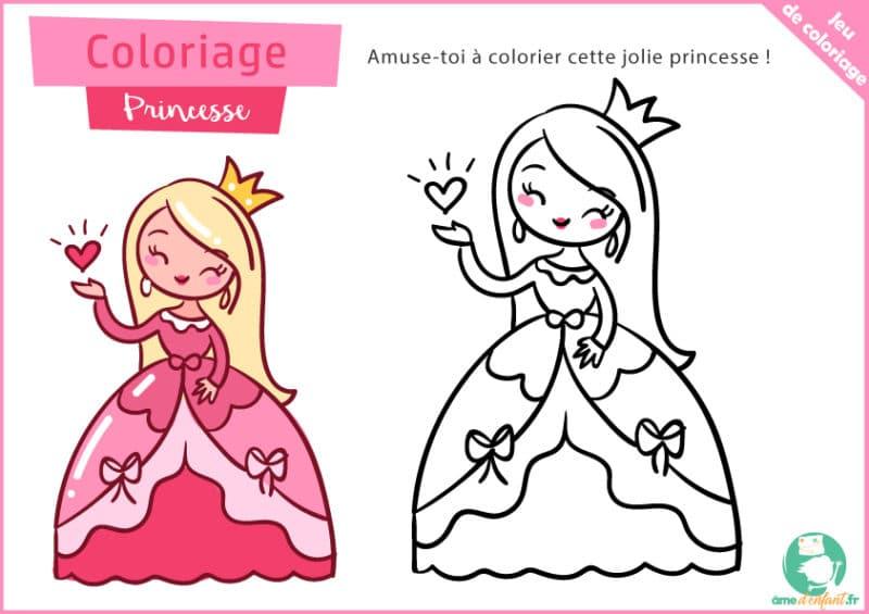 coloriage gratuit de princesse a imprimer