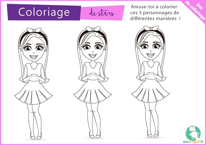 Coloriage 3 Personnages Filles