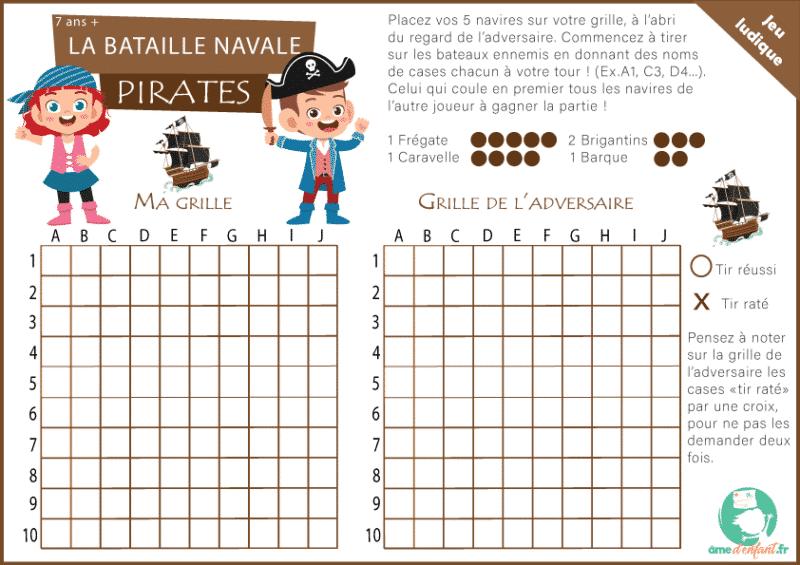 Bataille navale jeu à imprimer pirates