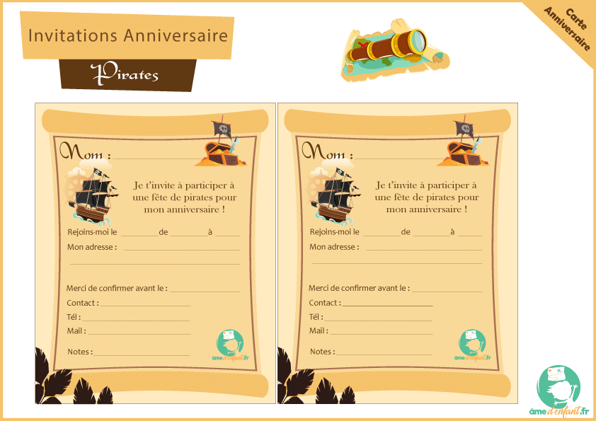Carte Invitation Anniversaire Pirate
