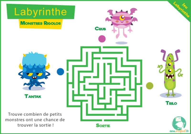 labyrinthe a imprimer petits monstres rigolos