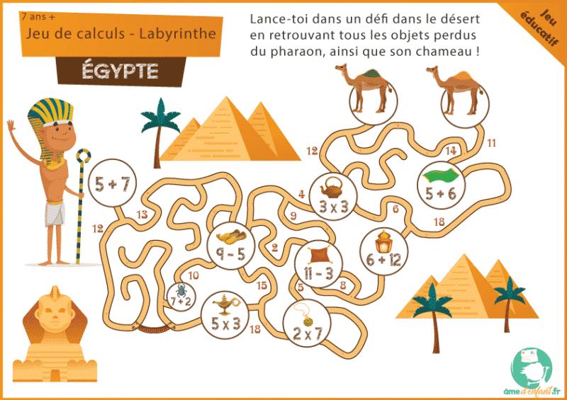 labyrinthe a imprimer gratuitement egypte