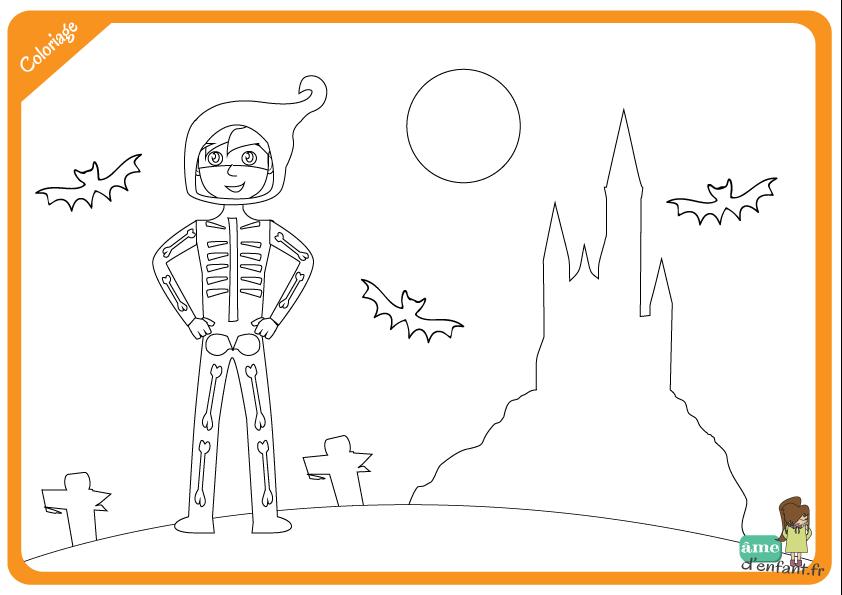 Coloriage squelette d 39 halloween - Coloriage squelette halloween ...
