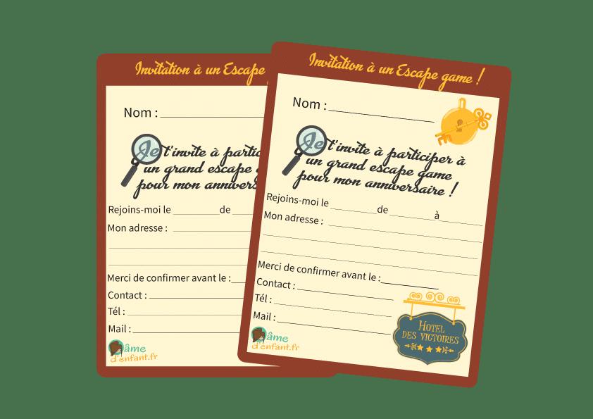 invitation jeu escape game