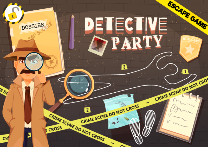escape game detective party enfant