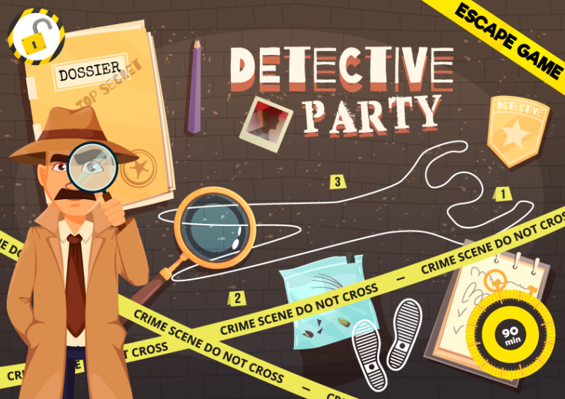 detective party escape room enfant