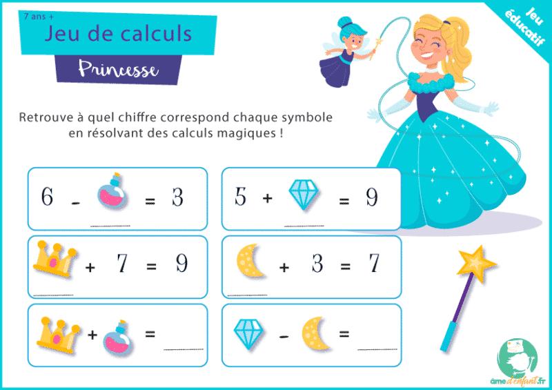 jeu de calcul à imprimer sur le theme princesse