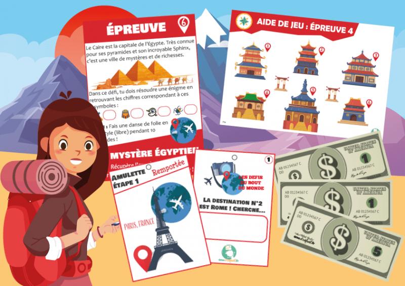 kit jeu aventure voyage dans le monde